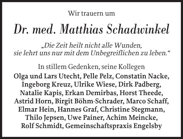 Dr Matthias Schadwinkel